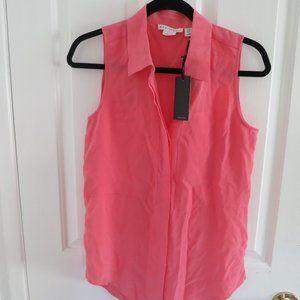 Max Studio coral  button up blouse XS NWT